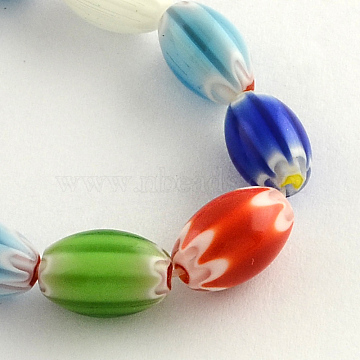 Oval Handmade Millefiori Glass Beads Strands, Mixed Color, 8x6mm, Hole: 0.5mm, about 40pcs/strand, 15.3 inches(X-LK-R004-85)