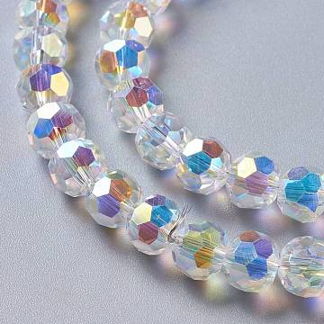 Glass Imitation Austrian Crystal Beads, Faceted Round, Clear AB, 8x7mm, Hole: 1.4mm(GLAA-F108-09)