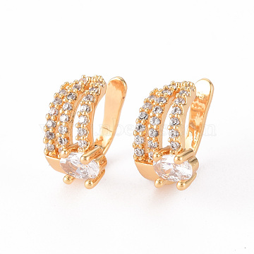 Brass Micro Pave Clear Cubic Zirconia Cuff Earrings, Nickel Free, Oval, Real 18K Gold Plated, 12x8mm(EJEW-Q703-003-NF)