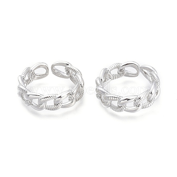 Brass Cuff Rings, Open Rings, Curb Chain Shape, Real Platinum Plated, Size 7, Inner Diameter: 17mm(RJEW-F103-02-P)