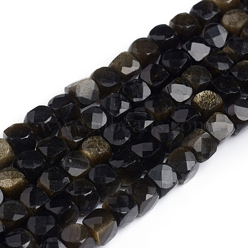 4mm Cube Golden Sheen Obsidian Beads