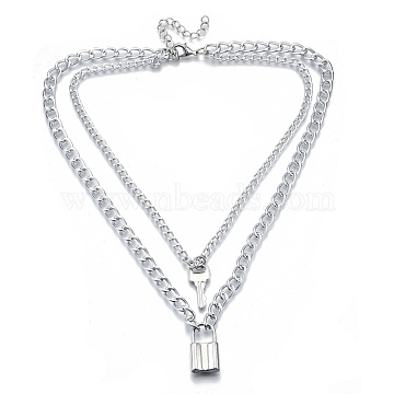 Zinc Alloy Double Layer Necklaces, Lead Free & Nickel Free, with Lobster Claw Clasps and Curb Chains, Padlock and Key, Platinum, 15.74 inches(40cm)(NJEW-N047-003-RS)