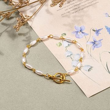 Rice Imitation Pearl Acrylic Beaded Bracelets, with Alloy Toggle Clasps, White, Golden, 7-5/8 inches(19.3cm)(BJEW-JB05559)