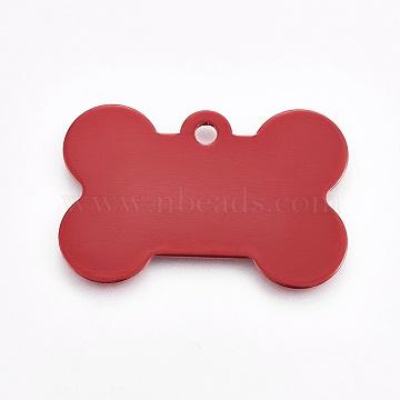 Pendentifs d'animal de compagnie en aluminium, estampillage d'une étiquette vierge, os, rouge, 25x38x1mm, Trou: 2.5mm(ALUM-WH0006-09)