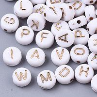 plaquer les perles acryliques, pour la fabrication de bracelets et de bijoux, métal enlacée, style alphabet, plat rond, plaqué or et de lumière, blanc, 7x4 mm, trou: 1.2~1.5 mm, environ146 pcs / 20 g