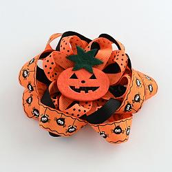 Halloween gros-grain fleur pinces crocodiles de cheveux, avec des clips de fer et de la citrouille, platine, orange foncé, 107x107mm(PHAR-R165-04)