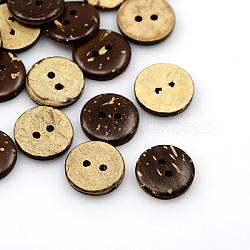 Boutons de noix de coco, 2-trou, plat rond, coconutbrown, 15x3mm, Trou: 2mm(COCO-I002-094)