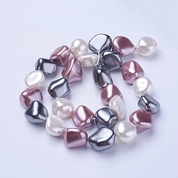 Perles de perles de coquille galvanoplastie, nuggets, colorées, 15~21x15~18x7.5~15mm, Trou: 1mm, Environ 19 pcs/chapelet, 16.14''~16.53'' (41~42 cm)(BSHE-P030-02B)