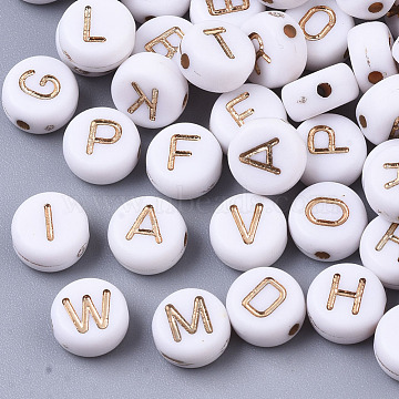 Plating Acrylic Beads, for Name Bracelets & Jewelry Making, Metal Enlaced, Horizontal Hole, Alphabet Style, Flat Round, Light Gold Plated, White, 7x4mm, Hole: 1.2~1.5mm, about 146pcs/20g(X-PACR-Q112-07C)