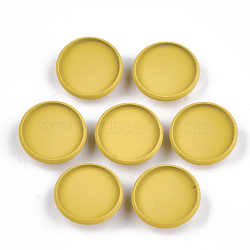 Paramètres de cabochon de glissière de fer environnementale peinte par pulvérisation d'environnement, pour bande de cheveux et décoration cravate, plat rond, or, plateau: 16 mm; 18x6 mm, Trou: 3.5x5mm(IFIN-T009-17A-05)