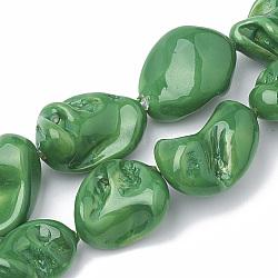 """Chapelets de perles de coquille, polie, pépite, seagreen, 15~25x10~26x5~16mm, trou: 1mm; environ 18 pcs/chapelet, 14.96""""(BSHE-Q031-15C)"""