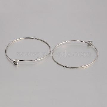 Brass Bangle Making, Platinum, 2-3/4 inches(7cm)(KK-J184-55P)