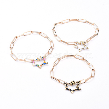 Iron Paperclip Chain Bracelets, with Brass Enamel Screw Carabiner Lock Charms, Star, Mixed Color, 7-1/2 inches(19cm)(BJEW-JB05114)