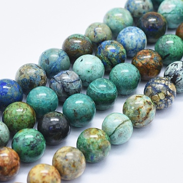 Natural Chrysocolla Beads Strands, Round, 12mm, Hole: 1mm, about 33~34pcs/Strand, 15.35 inches(39 cm)(G-E561-17-12mm)