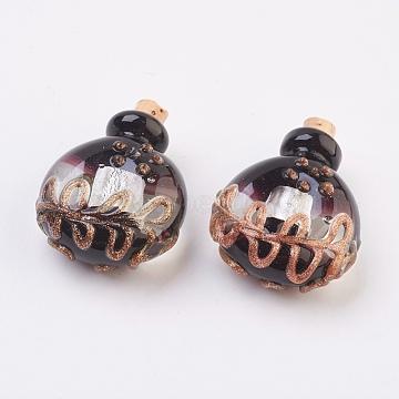 pendentifs de bouteille de parfum fait main, bouteille d'huile essentielle, avec du sable d'or, noir, 32.5~34 mm, trou: 5 mm(FOIL-P001-B05)