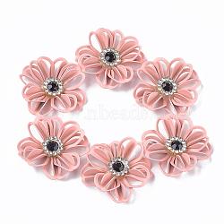 Peint en aérosol environnemental fer filigrane menuisiers liens, avec strass, fleur, rose, 25x24x7mm(X-IFIN-T009-02F)