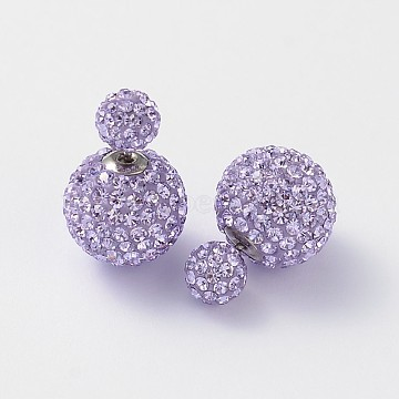 Double Austrian Crystal Ball Ear Studs, with Sterling Silver Pins and Brass Findings, 371_Violet, 6~12mm, Pin: 0.7mm(EJEW-D177-01)