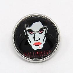 Halloween platine plaqué verre en laiton rond plat boutons de halloween seris vampire bijoux snap, Sans cadmium & sans nickel & sans plomb, noir, 18x9 mm; bouton: 5.5 mm(X-SNAP-M032-B-16)