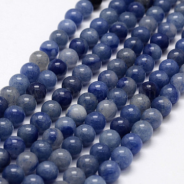 Natural Blue Aventurine Beads Strands, Round, 6mm, Hole: 0.8mm, about 65pcs/strand, 15.1 inches(X-G-F380-6mm)