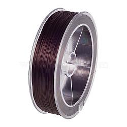 chaîne de cristal élastique plat, fil de perles élastique, pour la fabrication de bracelets élastiques, café, 0.8 mm; sur 100 m / rouleau(EW-BC0001-01D)