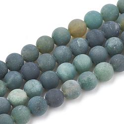 """Chapelets de perles en agate mousse naturelle, mat, rond, 8~8.5mm, trou: 1mm; environ 47 pcs/chapelet, 15.5""""(X-G-T106-018)"""