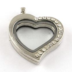 Alliage strass coeur magnétiques flottantes pendentifs locket, avec cabochons de verre, platine, 34x29x7mm, Trou: 3mm(X-PALLOY-S039-04)