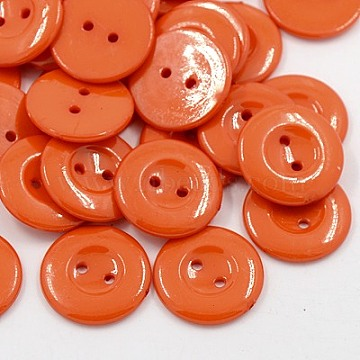 Acrylic Sewing Buttons for Costume Design, Plastic Shirt Buttons, 2-Hole, Dyed, Flat Round, Dark Orange, 21x2.5mm, Hole: 1mm(BUTT-E087-A-04)