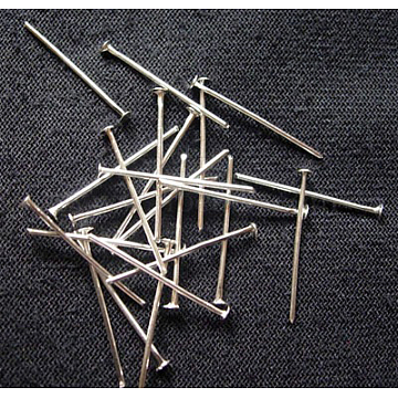 Iron Flat Head Pins, Cadmium Free & Lead Free, Platinum Color, Size: about 0.75~0.8mm thick, 2.0cm long(X-HP2.0cm)