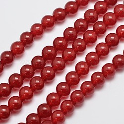 """Chapelets de perles en jade de malaisie naturelle et teinte, Cornaline d'imitation, rond, rouge, 8mm, trou: 1.0mm; environ 50 pcs/chapelet, 15""""(G-G659-8mm-A02)"""