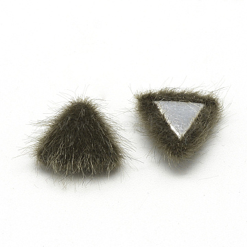 Faux Mink Fur Covered Cabochons, with Aluminum Bottom, Triangle, Coffee, Platinum, 12x13x5mm(X-WOVE-S084-20B)