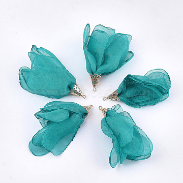 Polyester Big Pendants, with Iron Findings, Flower, Light Gold, LightSea Green, 63~67x10mm, Hole: 1.5~2mm(X-FIND-T051-07)