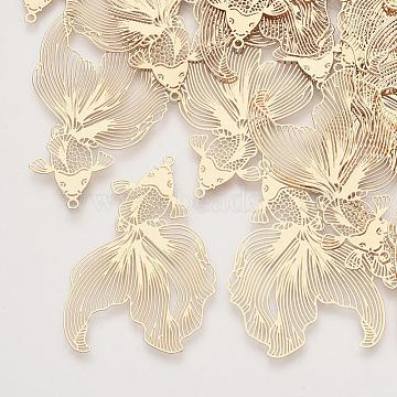 Brass Pendants, Etched Metal Embellishments, Goldfish, Light Gold, 49x30x0.3mm, Hole: 1.4mm(X-KKC-R001-10LG)