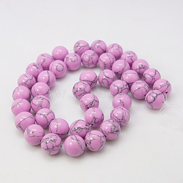 6mm Violet Round Synthetic Turquoise Beads