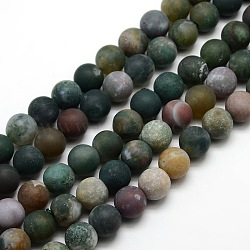Frosted Natural Indian Agate Round Bead Strands, 12mm, Hole: 1mm; about 30~32pcs/strand, 14.9inches~15.6inches
