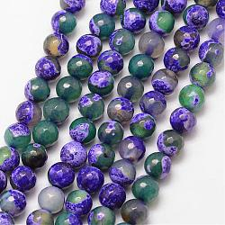 Natural Fire Agate Bead Strands, Round, Grade A, Faceted, Dyed & Heated, Mauve, 8mm, Hole: 1mm; about 47pcs/strand, 15