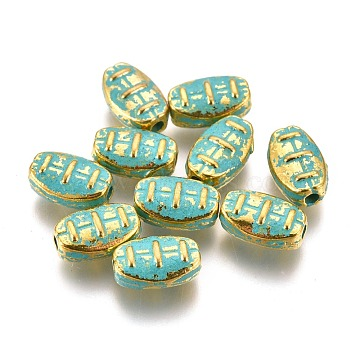 Alloy Beads, Oval, Lead Free & Cadmium Free, Golden & Green Patina, 7.5x5x3.5mm, Hole: 1.2mm(PALLOY-L222-055GGP-RS)