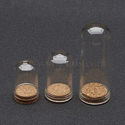 Glass Dome Cloche Cover, Bell Jar, with Cork Base, For Doll House Container, Dried Flower Display Decoration, Clear, 36.5~71.5x22~28mm(X-AJEW-P043)
