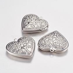 Pendentifs médaillon en 304 acier inoxydable, breloques cadre de photo pour colliers, coeur avec l'arbre de la vie, couleur inoxydable, 29x29x7mm, Trou: 2mm(X-STAS-G168-06P)