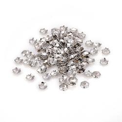 6-Petal Iron Bead Caps, Flower, Platinum, 3.5x0.1mm, Hole: 1mm, about 500pcs/5g.(X-IFIN-F152-02P)