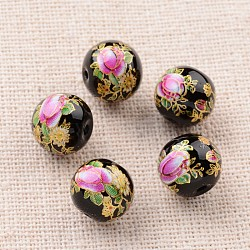 Image de fleur en verre imprimé perles rondes, noir, 10mm, Trou: 1mm(GLAA-J087-10mm-A09)