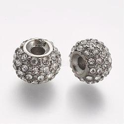Perles de strass en 304 acier inoxydable, rondelle, cristal, 11x8mm, Trou: 3mm(STAS-A032-050P)