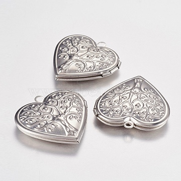 304 Stainless Steel Locket Pendants, Photo Frame Charms for Necklaces, Heart with Tree of Life, Stainless Steel Color, 29x29x7mm, Hole: 2mm(X-STAS-G168-06P)