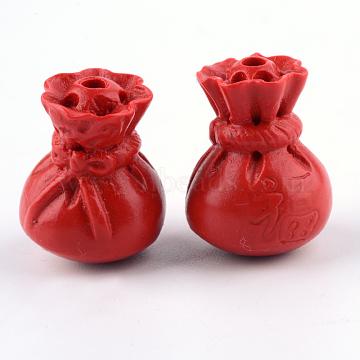Cinnabar Beads, Lucky Bag, FireBrick, 15.5x10x10mm, Hole: 2mm(CARL-Q004-87A)