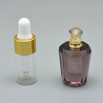 Faceted Synthetic Amethyst Openable Perfume Bottle Pendants, with Brass Findings and Glass Essential Oil Bottles, 40~48x21~25mm, Hole: 1.2mm; Glass Bottle Capacity: 3ml(0.101 fl. oz); Gemstone Capacity: 1ml(0.03 fl. oz)(G-E556-05A)