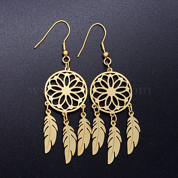 201 Stainless Steel Chandelier Earrings, Woven Net/Web with Feather, Golden, 70x20mm; Pin: 0.7mm(STAS-S105-JN358-2)