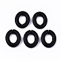 Spray Painted CCB Plastic Linking Rings, Quick Link Connectors, For Jewelry Curb Chains Making, Oval, Black, 28x23x6mm, Inner Diameter: 16x11mm