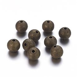 8mm perles de bronze rondes en laiton antique rondes, sans nickel, Trou: 1.5~2mm(X-EC225-NFAB)