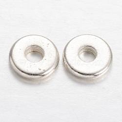 Плоские круглые прокладки латунь шарик, серебряные, 6x1 мм, отверстие : 2 мм(KK-F371-71S)