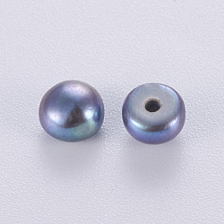 Natural Cultured Freshwater Pearl Beads, Half Drilled, Dyed, Round, Slate Gray, 4.5~5x4mm, Hole: 1mm(PEAR-I004I-02A)