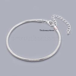 Laiton argenté bracelets de style européen, avec fermoirs mousquetons en laiton  , environ 3 mm d'épaisseur, 20 cm de long (à l'exception de la longueur du fermoir)(X-PPJ001Y-S)